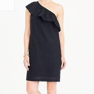 J Crew One Shoulder Black Linen Shift Dress S